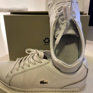 Used Lacoste White Shoes with Gold Hardware